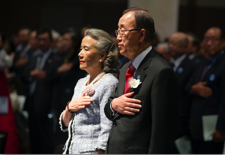 Photo: Ban Ki-moon receives the Seoul Peace Prize in South Korea on October 29, 2012, with his wife, Yoo Soon-taek. In his last speech to the UN General Assembly opening session in 2016, Ban excoriated Syria. ESKINDER DEBEBE/UN PHOTO
