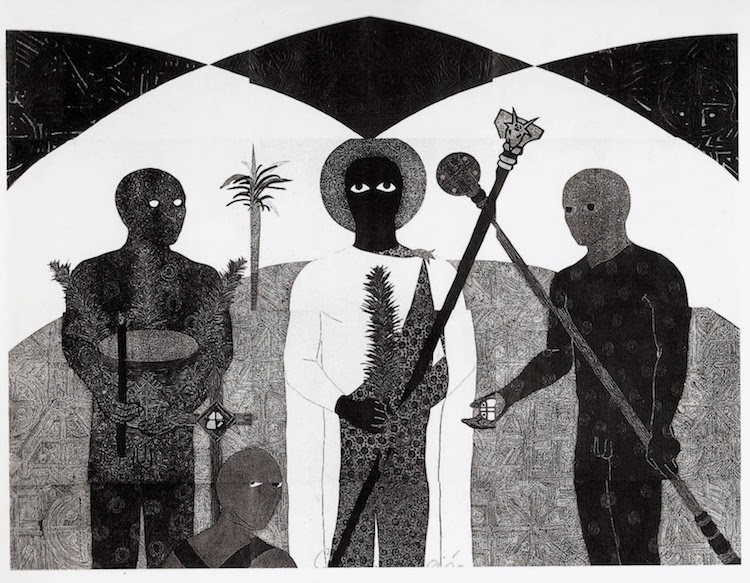 Photo: Belkis Ayon, La consagracion II (The Consecration II), 1991, collograph. Collection of the Belkis Ayon Estate.