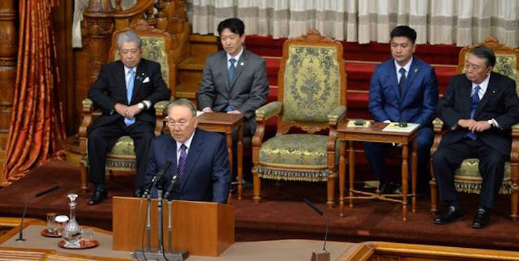 Photo: Kazakh President Nazarbayev addressing Japan's Parliament. Credit: Official Site of the President of the Republic of Kazakhstan