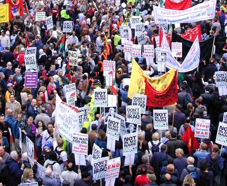 Photo: Anti-war protest in London, 2002. Credit: Wikimedia Commons.