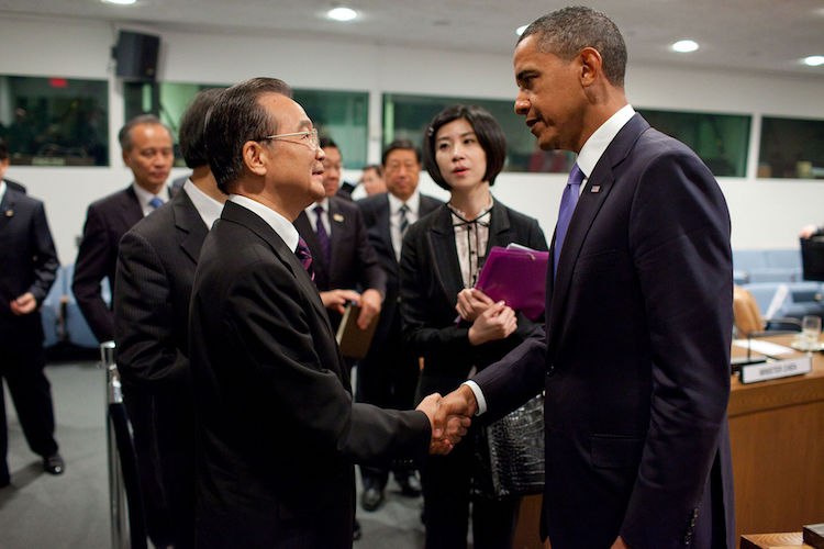 Photo: President Barack Obama greets Premier Wen Jiabao and members of the Chinese delegation after a bilateral meeting at the United Nations in New York, Sept. 23, 2010. (Official White House Photo by Pete Souza)