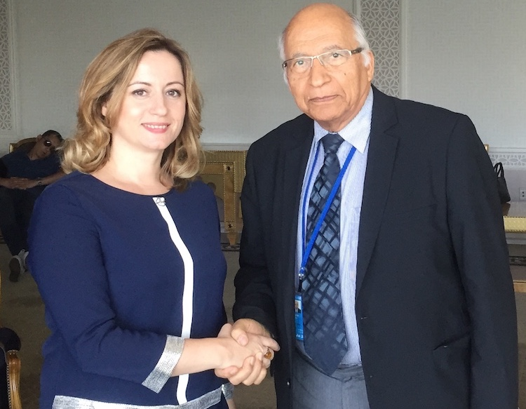 Photo: Albania's Deputy Prime Minister Senida Mesi with INPS-IDN DG and Editor-in-Chief Ramesh Jaura. Credit: INPS-IDN
