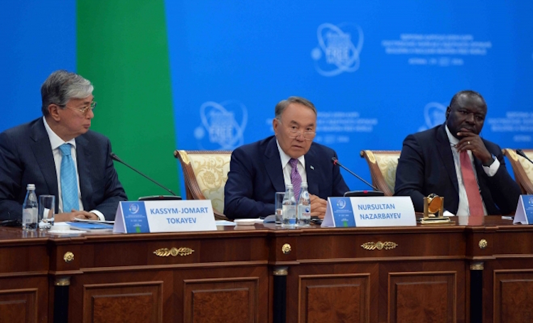 Photo: (left to right) Chairman of the Senate of the Parliament of Kazakhstan, Kassym-Jomart Tokayev; President Nazarbayev; Executive Secretary of the Preparatory Commission of the Comprehensive Nuclear Test-Ban Treaty Organization (CTBTO), Lassina Zerbo. Credit: www.kazembassy.org.uk
