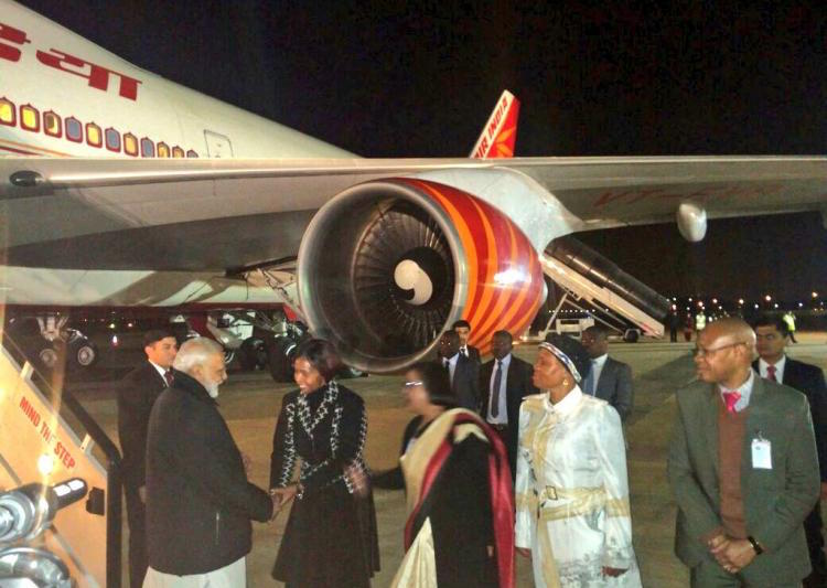 Photo: Prime Minister Modi being welcomed in South Africa. Credit: IndiaTV