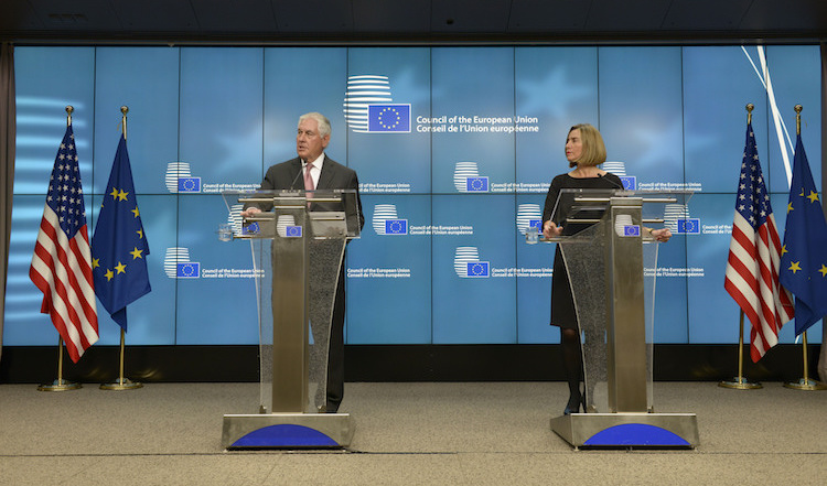 Photo: U.S. Secretary of State Rex Tillerson addresses reporters during a joint statement to the media with European Union High Representative Federica Mogherini, in Brussels, Belgium on December 5, 2017. [State Department Photo/ Public Domain]