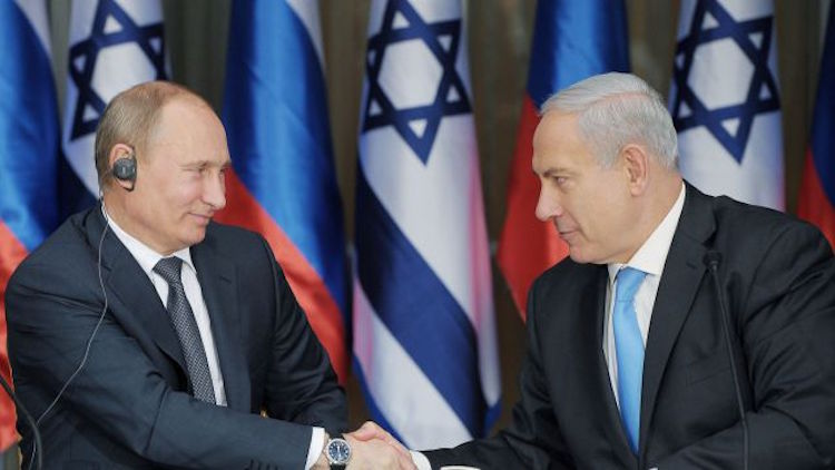 Photo: Russian President Putin (left) with Israel Premier Netanyahu (right). Credit: intifada-palestine.com