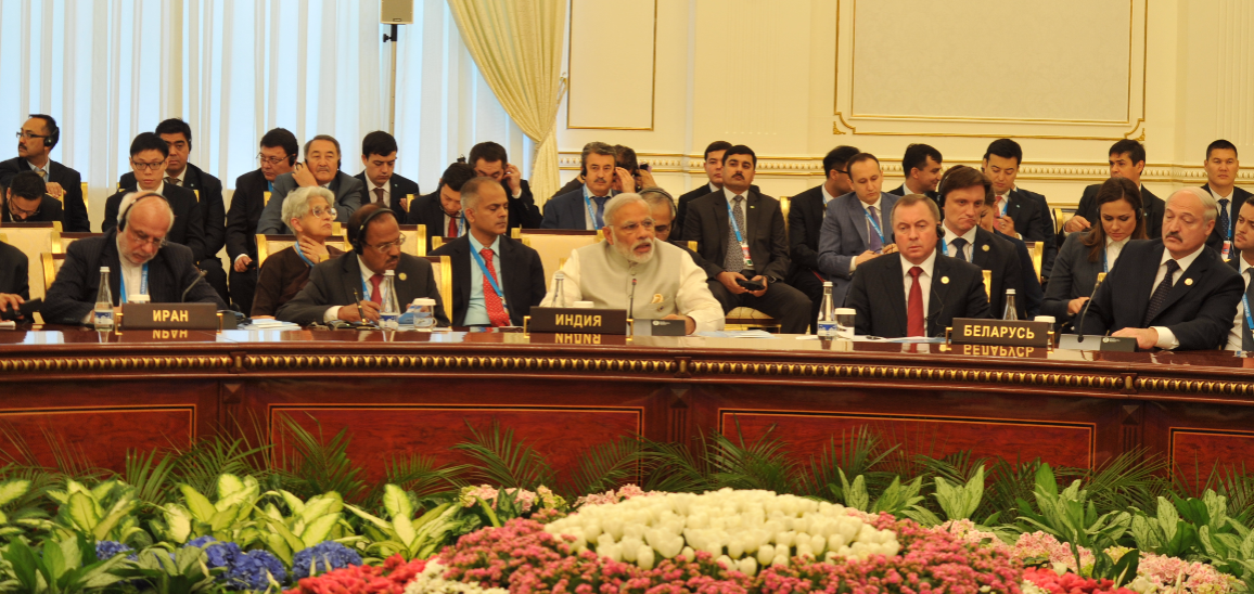 Photo: Prime Minister Modi addressing the Shanghai Cooperation Organization (SCO) on June 24 in Tashkent. Credit: www.narendramodi.in